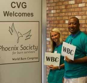 Volunteers welcome attendees to the Phoenix Society's World Burn Congress