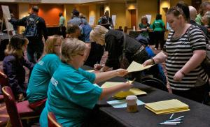 WBC volunteers assisting with registration