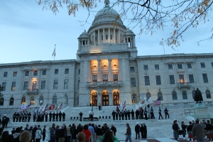 Addressing the crowd at the Rhode Island State House
