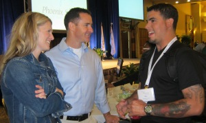 The Crowthers listen as Alex Trevino(r), burn survivor, shares his story at WBC 2013.