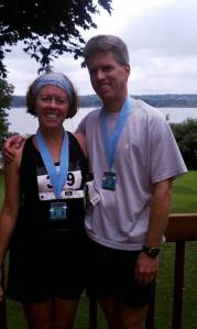 Toby and Katy after finishing the half-marathon as Team Phoenix members.